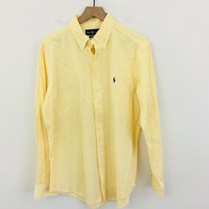 Ralph Lauren Yellow Stripe Button Down Shirt Large